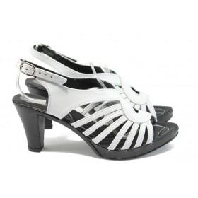 Дамски сандали - естествена кожа - бели - EO-8559