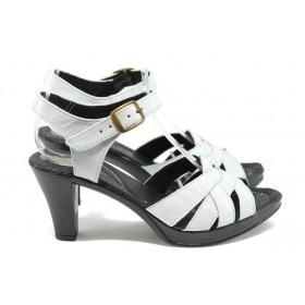 Дамски сандали - естествена кожа - бели - EO-8560