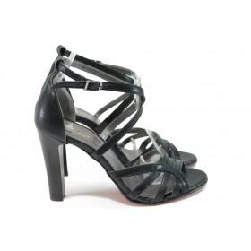 Дамски сандали - висококачествен еко-велур - черни - EO-8573