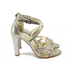 Дамски сандали - висококачествен еко-велур - жълти - EO-8574
