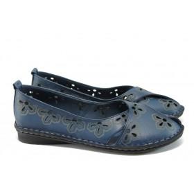 Равни дамски обувки - естествена кожа - сини - EO-8576