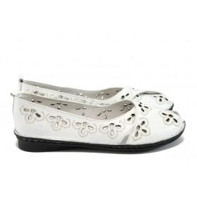 Равни дамски обувки - естествена кожа - бели - EO-8577