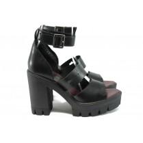 Дамски сандали - естествена кожа - черни - EO-8650