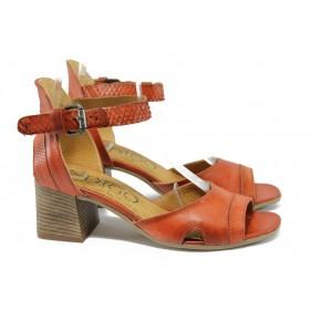 Дамски сандали - естествена кожа - червени - EO-8655