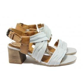 Дамски сандали - естествена кожа - бели - EO-8656