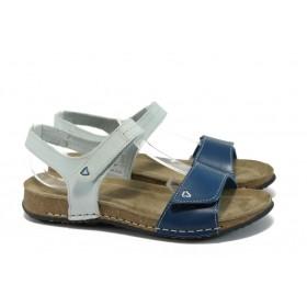 Дамски сандали - естествена кожа - сини - EO-8659