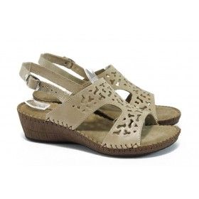 Дамски сандали - естествена кожа - бежови - EO-8660