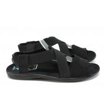 Дамски сандали - висококачествен текстилен материал - черни - EO-8662