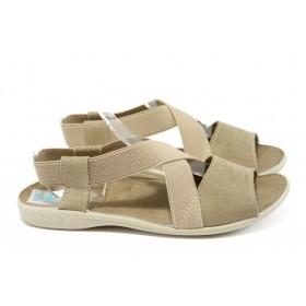 Дамски сандали - висококачествен текстилен материал - бежови - EO-8663