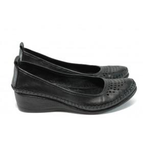 Дамски обувки на платформа - естествена кожа - черни - EO-8676