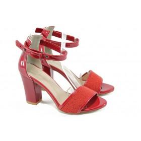 Дамски сандали - висококачествена еко-кожа - червени - EO-8677