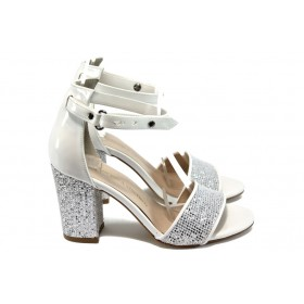 Дамски сандали - висококачествена еко-кожа - бели - EO-8678
