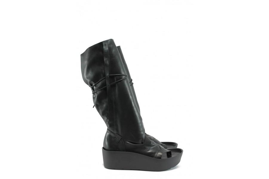 Летни ботуши - естествена кожа - черни - EO-8687