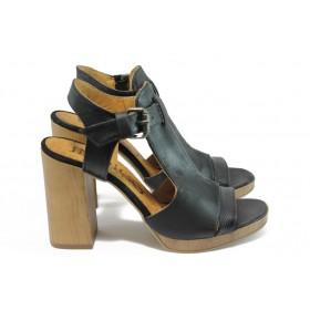 Дамски сандали - естествена кожа - черни - EO-8688
