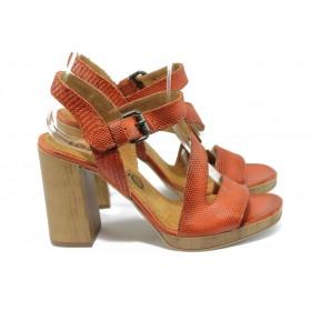 Дамски сандали - естествена кожа - червени - EO-8658