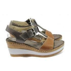 Дамски сандали - естествена кожа - кафяви - EO-8689