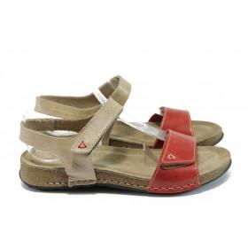 Дамски сандали - естествена кожа - червени - EO-8691