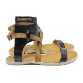 Дамски сандали - естествена кожа - черни - EO-8694