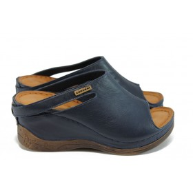 Дамски чехли - естествена кожа - сини - EO-8697