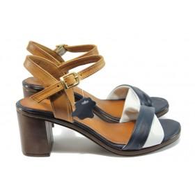 Дамски сандали - естествена кожа - сини - EO-8698