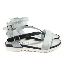 Дамски сандали - естествена кожа - бели - EO-8707