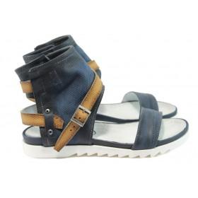 Дамски сандали - естествена кожа - сини - EO-8708