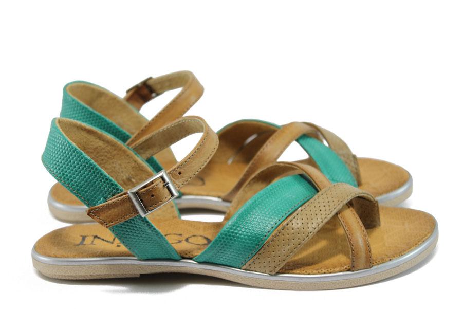 Дамски сандали - естествена кожа - зелени - EO-8709