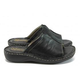 Дамски чехли - естествена кожа - черни - EO-8712