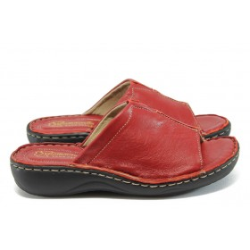 Дамски чехли - естествена кожа - червени - EO-8715