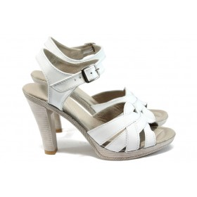 Дамски сандали - естествена кожа - бели - EO-8716
