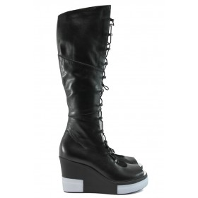 Летни ботуши - естествена кожа - черни - EO-8721