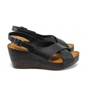 Дамски сандали - естествена кожа - черни - EO-8722
