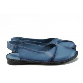 Дамски сандали - естествена кожа - сини - EO-8725