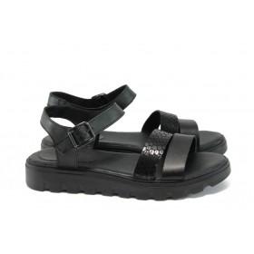 Дамски сандали - естествена кожа - черни - EO-8727