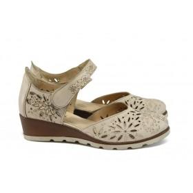 Дамски обувки на платформа - естествена кожа - бежови - EO-8728