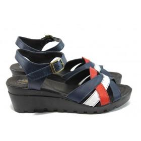 Дамски сандали - естествена кожа - тъмносин - EO-8735