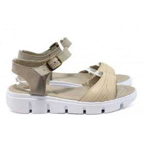 Дамски сандали - естествена кожа - бежови - EO-8741