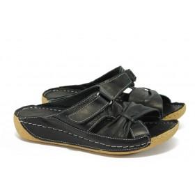 Дамски чехли - естествена кожа - черни - EO-8745