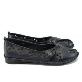 Равни дамски обувки - естествена кожа - тъмносин - EO-8734