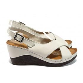 Дамски сандали - естествена кожа - бежови - EO-8750
