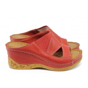 Дамски чехли - естествена кожа - червени - EO-8744