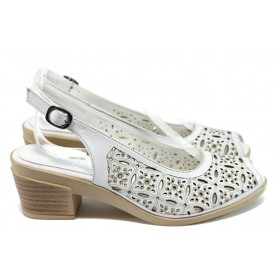 Дамски сандали - естествена кожа - бели - EO-8751