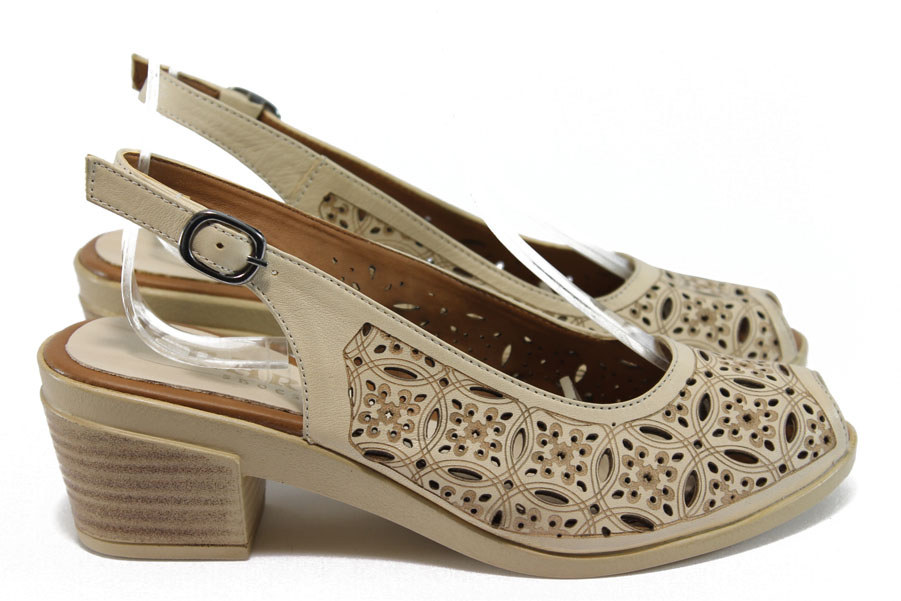 Дамски сандали - естествена кожа - бежови - EO-8747
