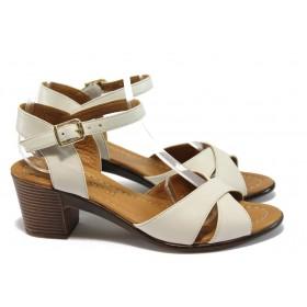 Дамски сандали - естествена кожа - бежови - EO-8752