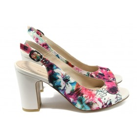 Дамски сандали - висококачествен текстилен материал - бели - EO-8753