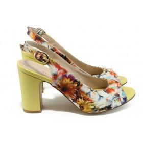 Дамски сандали - висококачествен текстилен материал - жълти - EO-8754