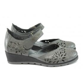 Дамски обувки на платформа - естествена кожа - сиви - EO-8748