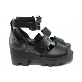 Дамски сандали - естествена кожа - черни - EO-8749
