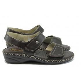 Дамски сандали - естествена кожа - кафяви - EO-8755
