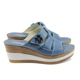 Дамски чехли - естествена кожа - сини - EO-8756